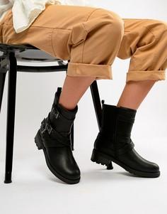 Черные байкерские сапоги с пряжками Head Over Heels by Dune Raakel - Черный