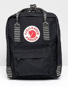 Черный небольшой рюкзак с контрастными ремешками Fjallraven Kanken - Черный