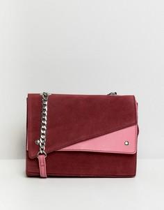 Замшевая сумка на плечо в стиле колор блок ASOS DESIGN - Мульти