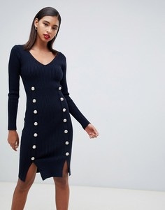 Темно-синее трикотажное обтягивающее платье с пуговицами Morgan - Белый