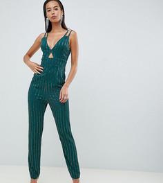 Комбинезон с широкими брюками со складками и отделкой пайетками ASOS DESIGN Tall - Синий