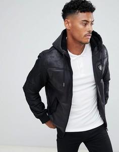 Черная куртка с капюшоном, молнией, подкладкой из искуcственного меха и логотипом EA7 Mountain - Черный