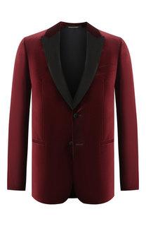 Бархатный однобортный пиджак Emporio Armani