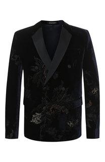 Однобортный пиджак из вискозы Emporio Armani
