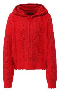 Вязаный хлопковый пуловер с капюшоном RTA