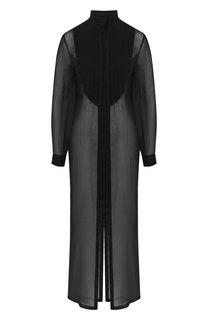 Полупрозрачное платье из смеси хлопка и шелка с воротником-стойкой Isabel Benenato