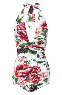 Слитный купальник с цветочным принтом Dolce & Gabbana