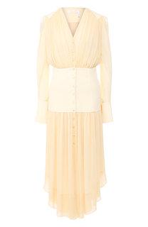 Приталенное платье-миди с V-образным вырезом Chloé
