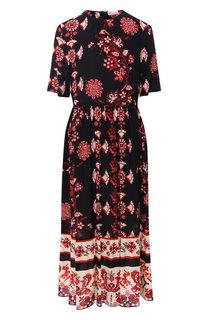 Шелковое платье-миди с принтом REDVALENTINO
