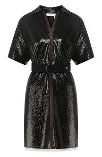 Мини-платье с поясом и пайетками Chloé
