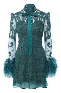 Мини-платье с декоративной отделкой и бантом Zuhair Murad