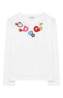 Хлопковый лонгслив с аппликациями Dolce & Gabbana