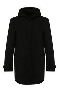 Пальто из смеси шерсти и вискозы на молнии с капюшоном Emporio Armani