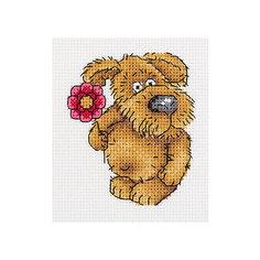 """Набор для вышивания мулине Klart """"Пёсик с цветочком"""", 10х11 см"""