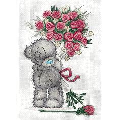 """Набор для вышивания мулине Klart """"Tatty Teddy с букетом роз"""", 16х23 см"""