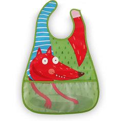 Нагрудный фартук на липучке Happy Baby fox, зелёный