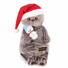 Мягкая игрушка Budi Basa Кот Басик в колпаке со снеговичком, 30 см