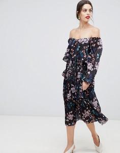 Платье макси с длинными рукавами и принтом Zibi London - Мульти