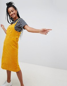 Желтый вельветовый сарафан миди Monki - Желтый