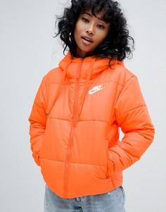 Дутая куртка с маленьким логотипом Nike - Оранжевый