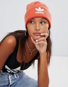 Оранжевая шапка-бини с вышитым логотипом adidas Originals - Оранжевый