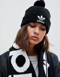 Черная шапка-бини с вышитым логотипом и помпоном adidas Originals - Черный