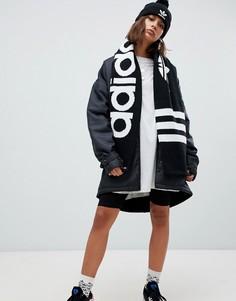 Черный шарф с логотипом-трилистником adidas Originals - Черный