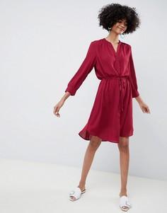 Платье-рубашка миди Selected Femme - Красный