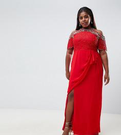 Красное платье макси с отделкой, открытыми плечами и запахом Virgos Lounge Plus - Красный
