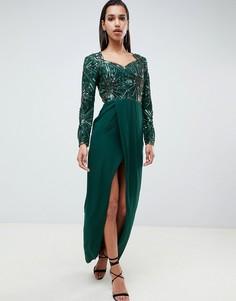 Зеленое платье макси с разрезом и вырезом сердечком Virgos Lounge - Зеленый