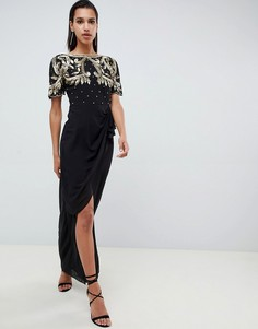 Черное платье макси с запахом и оборкой Virgos Lounge - Черный