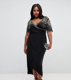 Черное декорированное платье миди с запахом Virgos Lounge Plus julisa - Черный