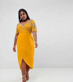 Желтое платье миди с запахом си отделкой Virgos Lounge Plus - Желтый
