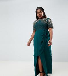 Изумрудно-зеленое платье макси с отделкой и запахом Virgos Lounge Plus ariann - Зеленый