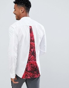 Белая рубашка с принтом роз на спине SikSilk - Белый