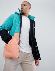 Дутая куртка колор блок boohooMAN - Зеленый
