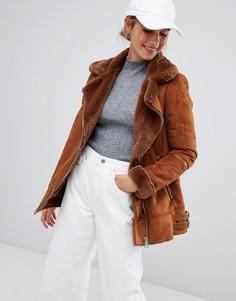 Куртка в байкерском стиле Pull&Bear - Коричневый
