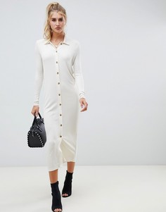 Платье-рубашка макси с воротником поло и роговыми пуговицами ASOS DES - Белый