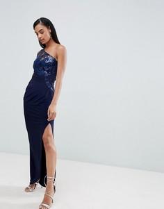 Платье макси на одно плечо с пайетками и кружевом Lipsy - Темно-синий