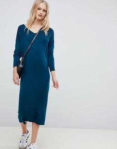 Платье-джемпер миди с V-образным вырезом ASOS DESIGN - Зеленый
