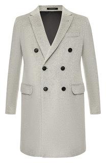 Двубортное пальто из смеси шерсти и вискозы Emporio Armani