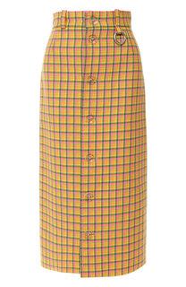 Шерстяная юбка-миди в клетку Balenciaga
