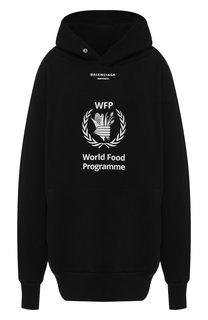Хлопковый пуловер свободного кроя с капюшоном Balenciaga