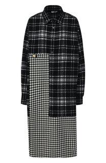 Шерстяное платье-миди в клетку Balenciaga