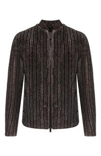Меховая куртка на молнии с отделкой из кожи Giorgio Armani