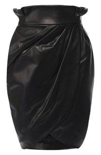 Кожаная мини-юбка с завышенной талией Versace