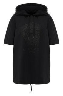 Пуловер c коротким рукавом и капюшоном Versace
