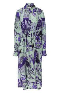 Шелковое платье-миди с принтом Dries Van Noten