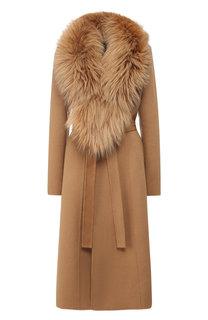Пальто из смеси шерсти и кашемира с воротником из меха лисы Yves Salomon