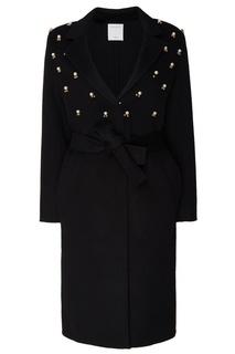 Черное пальто с аппликацией Sandro